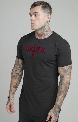 SikSilk Brushed Logo Gym Tee – Black