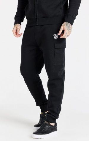 SikSilk Cargo Fleece Jogger – Black