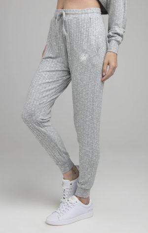 SikSilk Rib Lounge Pants – Grey Marl