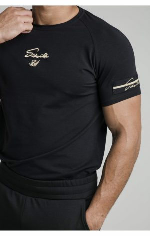 SikSilk Exposed Tape Raglan Gym Tee – Black